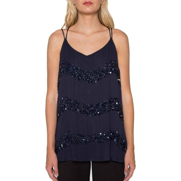 Women's Willow & Clay Embellished Stripe Tank (700 DKK) ❤ liked on Polyvore featuring tops, midnight, embellished tank tops, sequin tank top, sequin tanks, blue sequin top and embellished tank