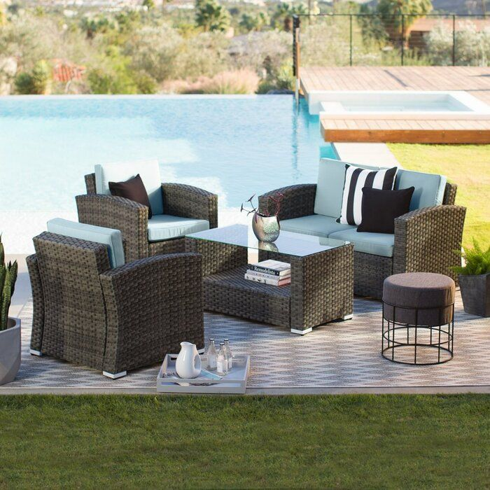 Looking For Celestia 4 Piece Sofa Seating Group With Cushions Order Now In 2020 Patio Furniture Sets Patio Furniture Fire Conversation Set Patio
