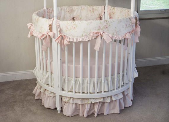 Round Crib Baby Girl Bedding Vintage Floral Shabby Chic Baby Round Baby Cribs Baby Cribs Baby Room Decor