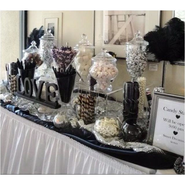 Pretzel and candy buffet - baby showerIdeas, Candy Bars, S'Mores Bar, Black And White, Black White, Candies Stations, Wedding Candies Buffets, Candies Bar, White Candies
