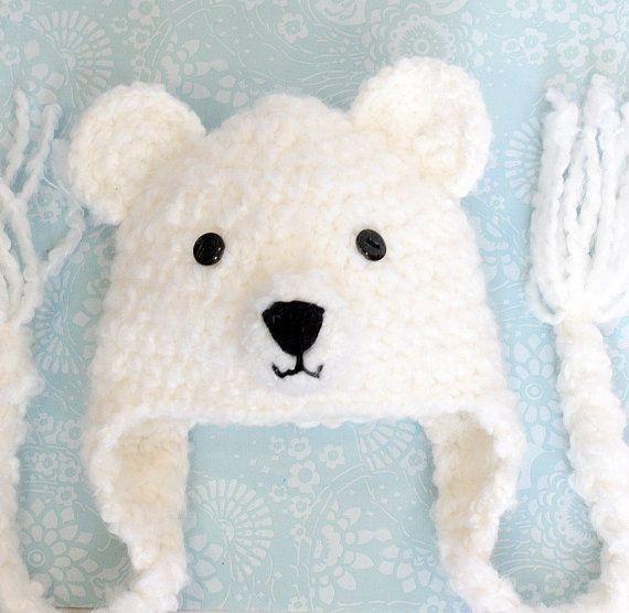 Ganchillo oso sombrero sombrero de Oso Polar oso por ForeverValues, $25.00