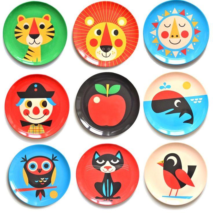 melamine plates with illustrations by Ingela P Arrhenius