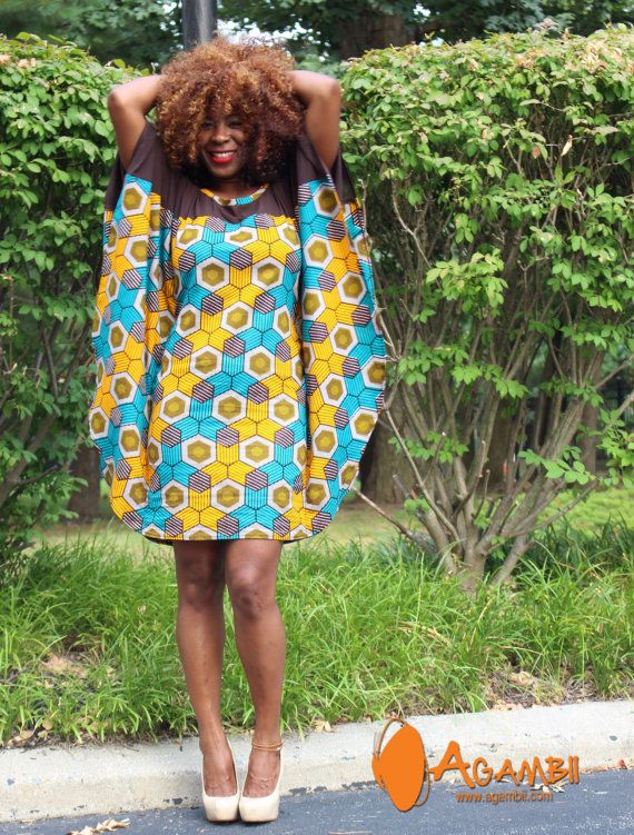agambii butterfly dress chiffon and african print by Agambii