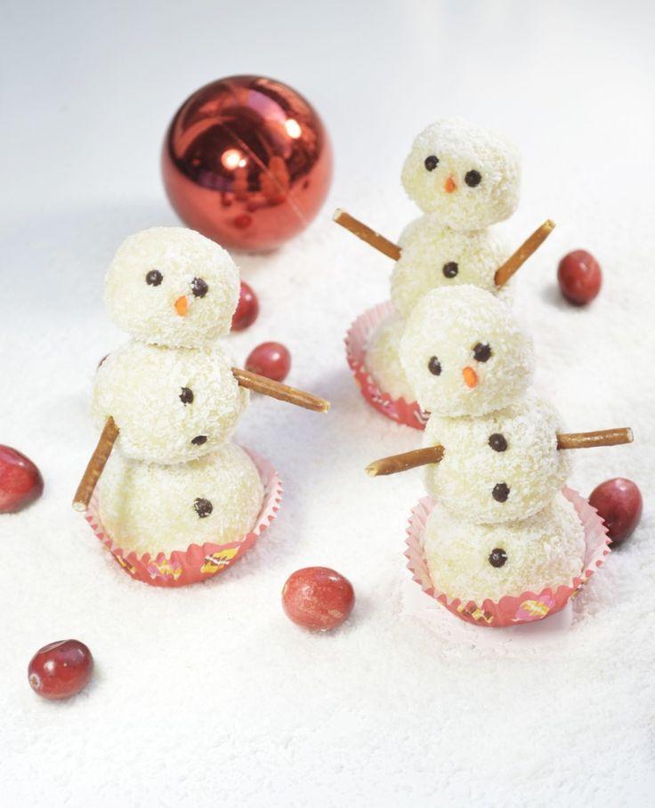 Coconut Barfi Snowmen for Christmas - holiday treats