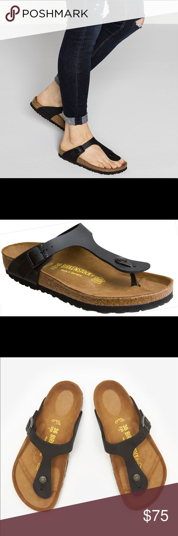 Birkenstock Gizeh sandals Black Birkenstock Gizeh sandals in black. Purchased last year and wore a couple times last summer. Bottoms show no signs of wear. Make an offer and these can be yours for years to come! Birkenstock Shoes Sandals