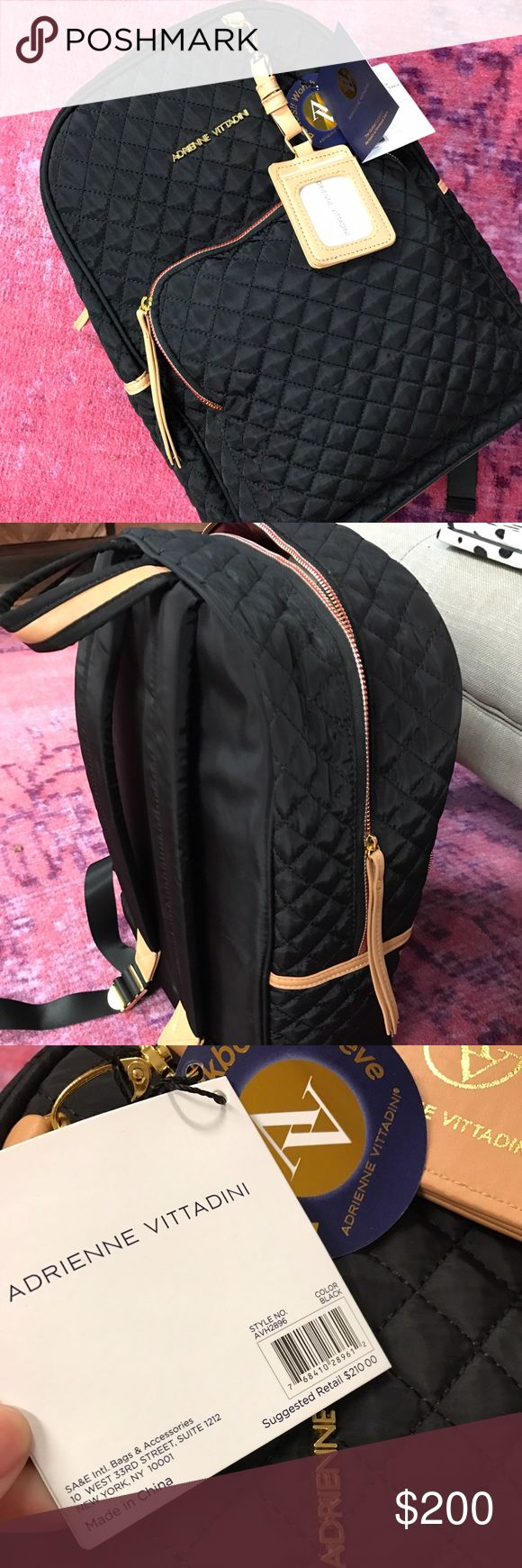 NWT Adrienne Vittadini Black Travel Backpack Perfect for work with a sleek laptop slot or a perfect travel backpack. Super soft. Chic gold zippers and red luxurious accents. NWT MSRP $210 Adrienne Vittadini Bags Backpacks