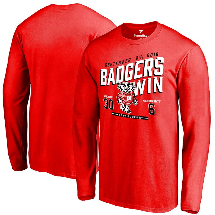Wisconsin Badgers vs. Michigan State Spartans 2016 Score Long Sleeve T-Shirt - Red - $27.99