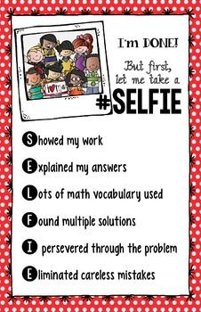 """Math Check """"Your-Selfie"""" Poster - CCSS Math Practices Cons"""