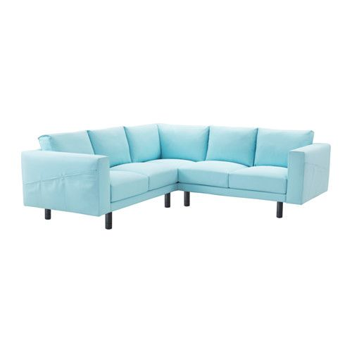 NORSBORG Sectional, 4-seat corner, Edum light blue, gray Edum light blue gray