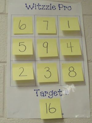 Witzzle game - the student needs to hit the target number using three numbers (one time each) in a row (horizontal, vertical, or diagonal) using addition, subtraction, multiplication, and/or division by following PEMDAS. So fun! I am so introducing this to my kids