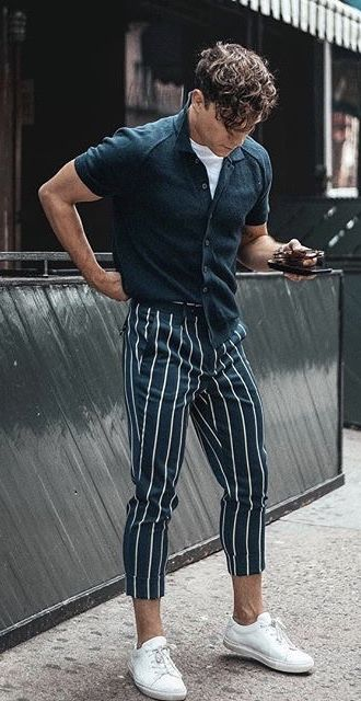 8a7894b66bba4e @justinliv - navy button up short sleeve shirt white t-shirt navy striped  pants