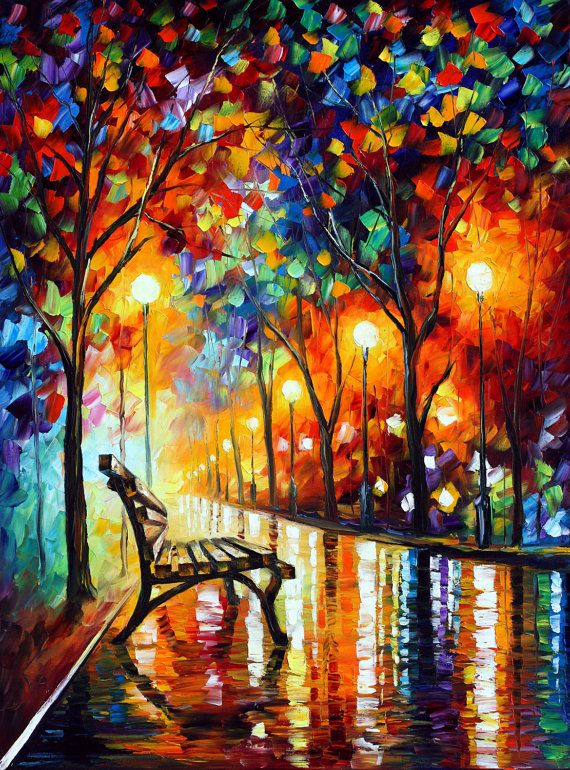 The Loneliness Of Autumn — Limited Edition Wall Art Landscape Park Print On Canvas By Leonid Afremov. Night Scenery