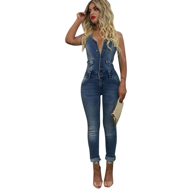 Find More Jumpsuits Information about Women jeans European style jumpsuits Denim Overalls Shirt Button Rompers Single strap Backless Long Pants Jeans S XL Bodysuit,High Quality jumpsuit style,China overall jumpsuit Suppliers, Cheap style jumpsuit from malenna Store on Aliexpress.com