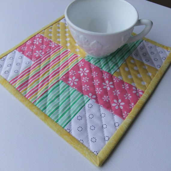 "$8.95 Quilted mug rug in Spring colors, Large coaster 8.5"" square by IsabellasWhimsy on Etsy"