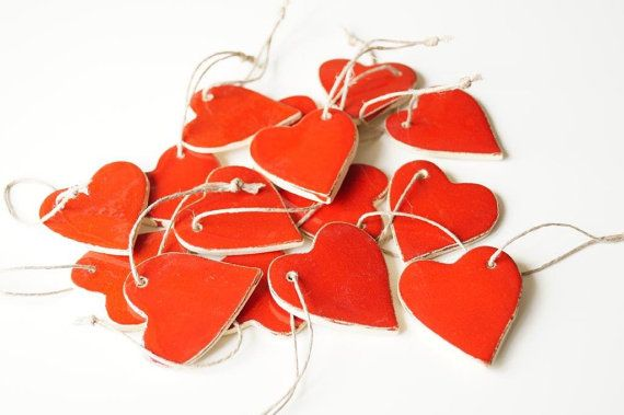 15 Wedding Favor Ceramic Red Heart 15 pieces Heart by HerMoments