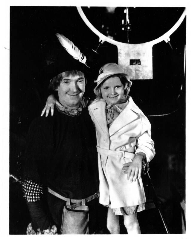 Lois Laurel with her father on the movie set of Babes In Toyland one of Laurel and Hardy's best films