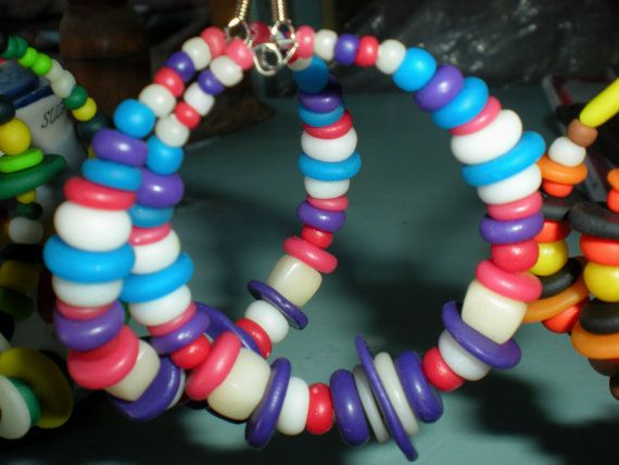 Polymer clay handmade abstract circle earrings by Inspiration2Art, $15.99