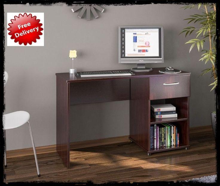 Home Office Desk Computer Workstation W. Drawer Storage Shelve Home  Furniture Uk