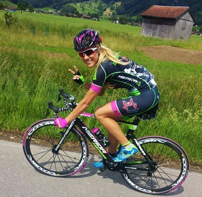 Cycling Girl Kristin today during training