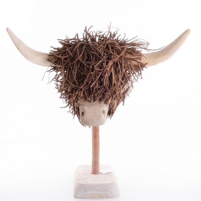 Voyage Maison Highland Cow Head Wooden Sculpture Highland Cow Wooden Sculpture Highland Cow Art