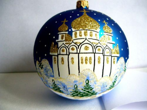 Christmas-ball-034-Church-034-the-biggest-size-blown-glass-and-hand-painted