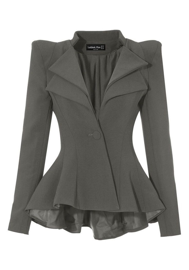 Feel like a boss and look like a boss with this uber gorgeous grey double lapel fit-and-flare blazer.