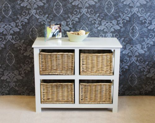 Gloucester Large  Drawer Storage Wicker Rattan Basket Drawers Chest Farmhouse