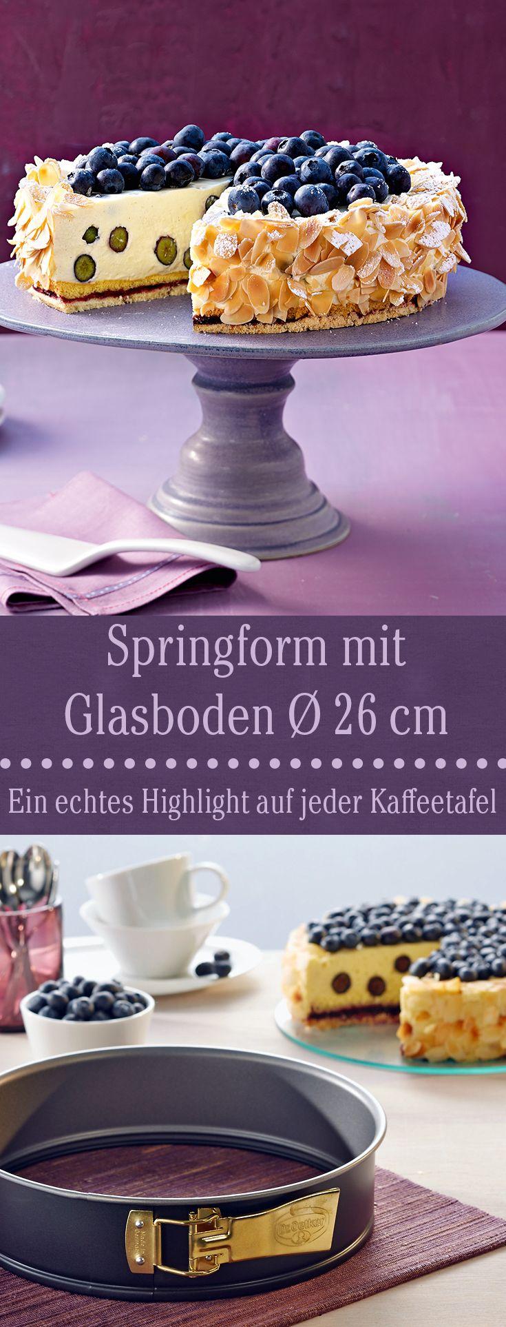 Eine ganz besondere Springform, die durch ihren Glasboden auch auf der Kaffeetafel ein echter Hingucker ist.