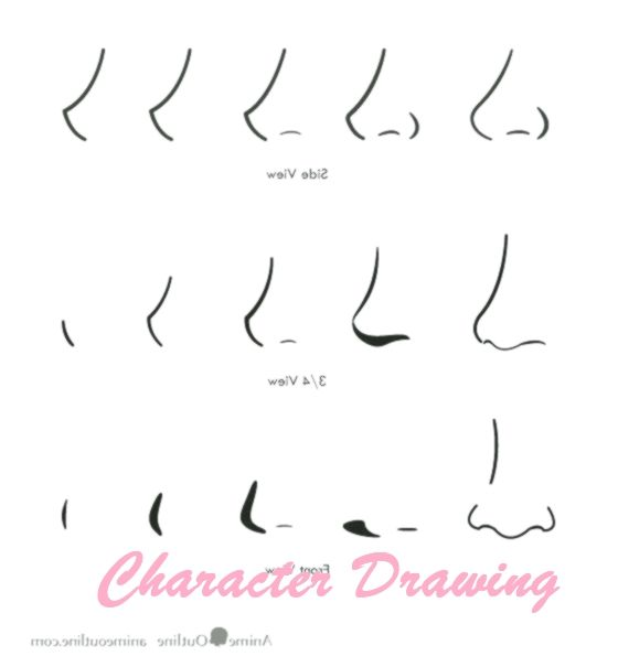 12 Drawing Anime Noses Front View In 2020 Nose Drawing Realistic Drawings Drawing Tips
