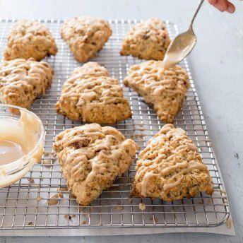 Glazed Maple-Pecan Oatmeal Scones | America's Test Kitchen