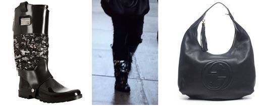 Dina Manzo's Black Sequin Rain Boots and Hobo Bag DETAILS: http://www.bigblondehair.com/real-housewives/rhonj/dina-manzos-sequin-rain-boots-black-purse/