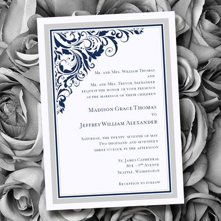 Printable Wedding Invitation Template Brooklyn Silver Navy