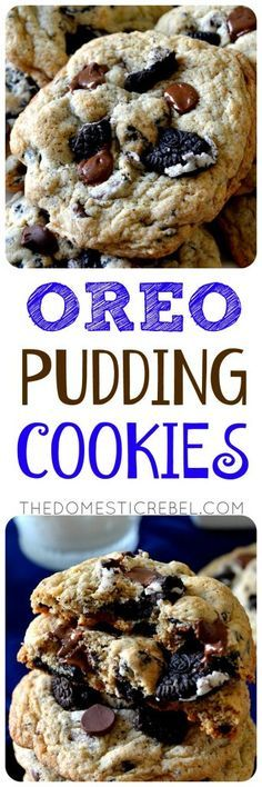 These OREO PUDDING COOKIES are a must-make for any chocolate chip cookie lover! This twist includes bite-sized chunks of Oreo cookies swirled in every bite. The secret ingredient is instant pudding mix, which makes these cookies impossibly soft & chewy for DAYS! And, no chilling the dough required!