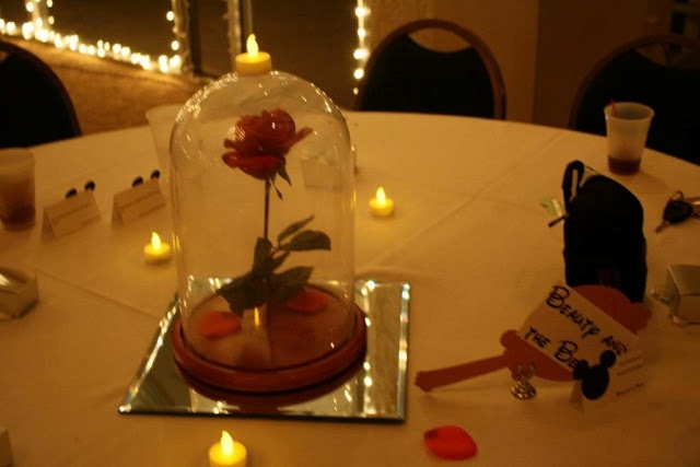 """Different disney centerpiece for everytable, """"Belle table"""" """"cinderella table"""""""