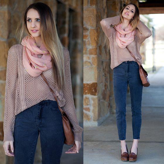 Vintage High Waist Jeans, Long Sleeve Top, Madewell Pink Scarf   Take it easy (by Madeline Becker)   LOOKBOOK.nu