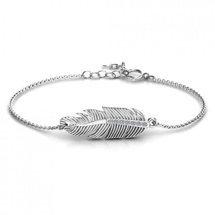 #Personalised #Bracelets : Sterling Silver Feather with Accent Stones #FestherBracelet  https://www.neatie.com/custom-made-bracelet-with-personalised-designs/Sterling-Silver-Feather-with-Accent-Stones-Bracelet-by-Neatie  Feathers symbolise peace, upliftment, joy and lightness. This bracelet, with your choice of colour of accent stones, is a perfect gift for a friend, loved one or even yourself!