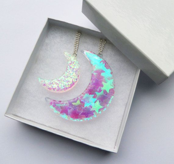Set Of 2 Resin Lunar Moon Crescent Statement Necklace Pendant Half Moon Stars Luminous Glitter