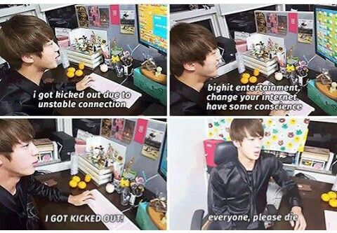Jin's never ending struggle with BigHit's sucky wifi connection