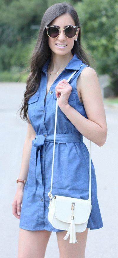 Blue Denim High Waist Sleeveless V Neck Front Button Up Dress
