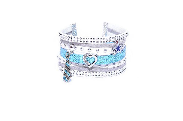 Bracelet Manchette multirangs bleu et blanc en suédine daim et cuir strass et paillettes : Bracelet par les-bijoux-de-petiteauguai