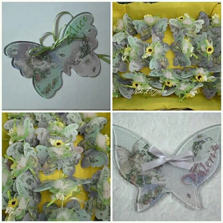 Bomboniera cresima ragazza  farfalla fatto fare decoupage fatto a mano girasole giallo mille carte decoupage