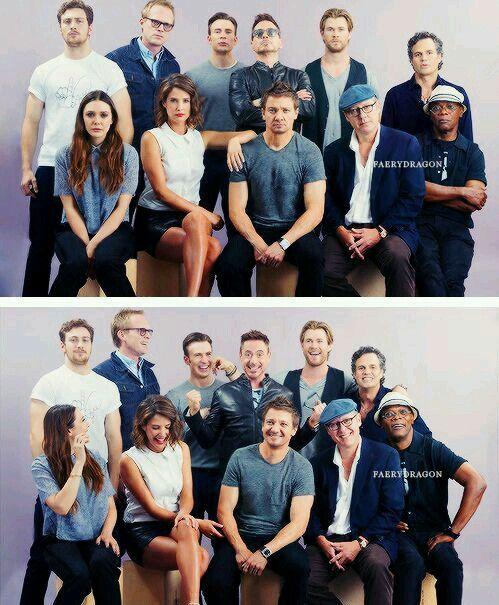 Robert Downey Jr (Iron Man), Chris Hemsworth (Thor), Mark Ruffalo (Hulk), Chris Evans (Captain America), Jeremy Renner (Hawkeye), James Spader (Ultron), Samuel L. Jackson (Nick Fury), Aaron Taylor-Johnson (Quicksilver), Elizabeth Olsen (Scarlet Witch), Paul Bettany (Jarvis/Vision), and Cobie Smulders (Maria Hill).