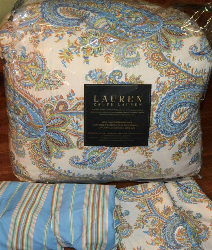 Ralph Lauren Marion Paisley Blue King Comforter Set New