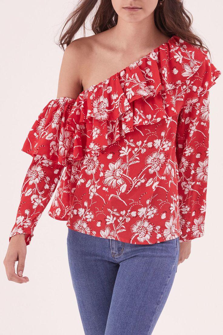 Steele - Wildflower Long Sleeve Shoulder Top - Garnet