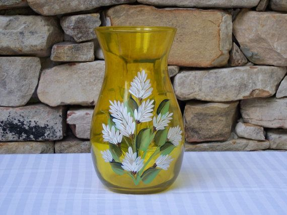 Hand Painted Vase Hawaian Flower | Hand Painted Glass Vase with White Stock Flowers