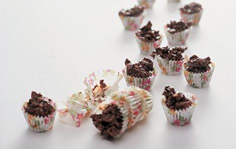 Cornflakestoppe med chokolade. Små lækre bidder med knas i. Uhmm!