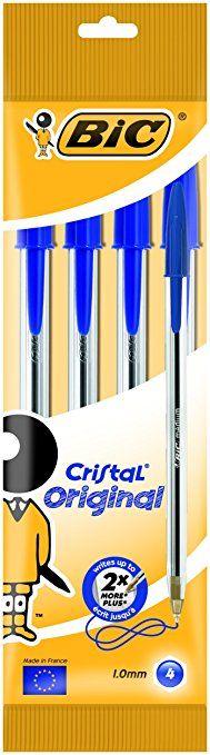 Bic Cristal Stylo à bille Moyen - Bleu (Lot de 4)