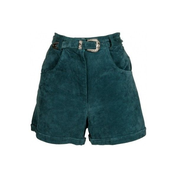 Teal Green Suede Shorts - Vintage clothing from Rokit - high waisted... ❤ liked on Polyvore featuring shorts, bottoms, high rise shorts, teal shorts, high-waisted shorts, highwaist shorts and high waisted shorts