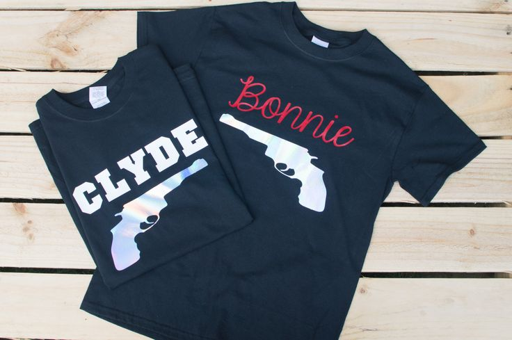 Bonnie and Clyde Shirts - Couple Shirts - His and Her T Shirts - Family Shirts - Matching T Shirts for Couples - Honeymoon Shirts by SheenaCreates on Etsy