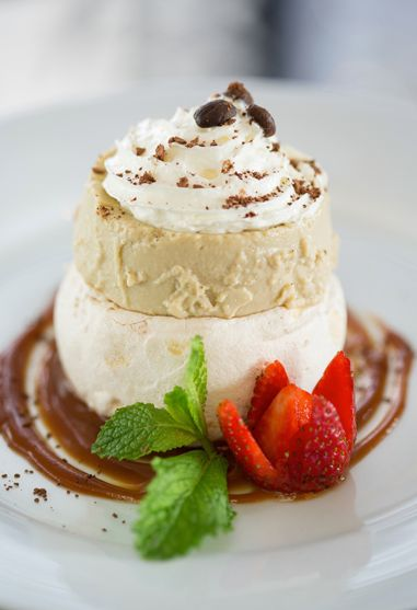 """""""Life is short. Eat dessert first."""" - Jacques Torres. Dessert of the week is our Iced Coffee Soufflé served with meringue & homemade double cream."""